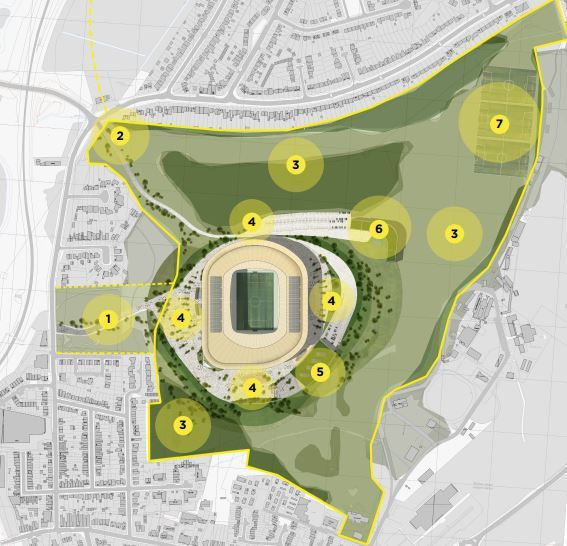 This masterplan was released on behalf of Veladail Leisure Ltd. It shows the stadium at Bushey Hall alongside other facilities.