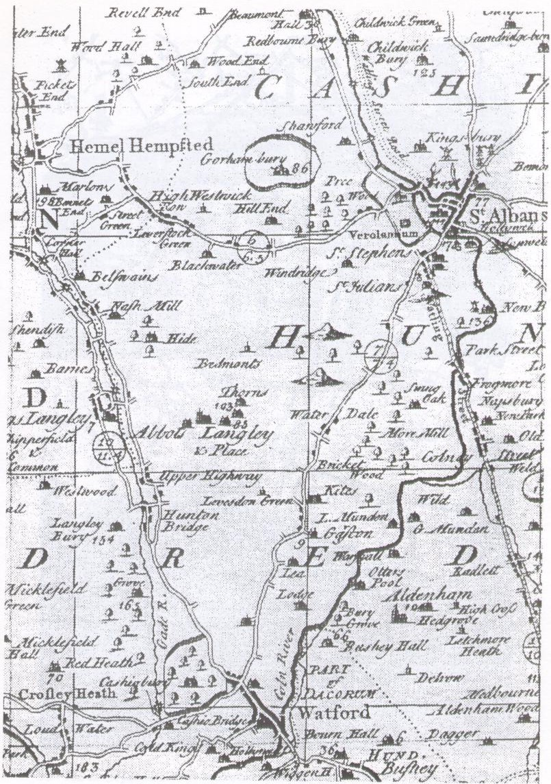 Map of Watford and surrounding area-1749