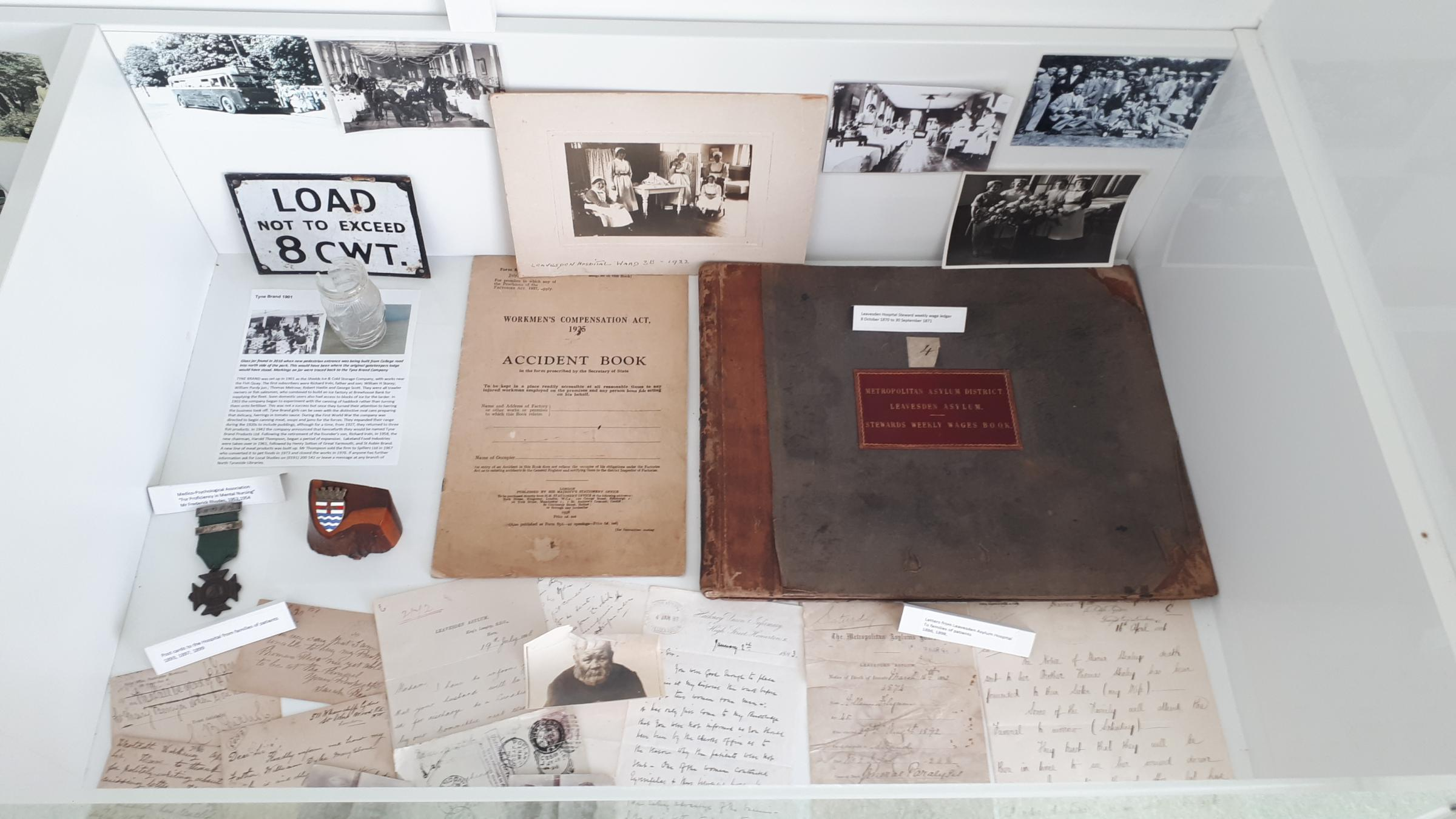 Leavesden Asylum/Hospital artifacts on display at the HIVE heritage centre Leavesden Country Park. 2020