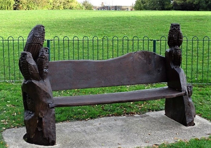 Carved bench, Goodwood Recreation Grounds. Credit: Stephen Danzig