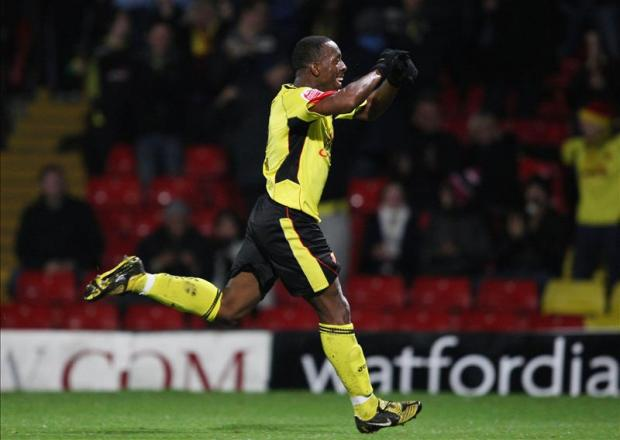 Lloyd Doyley celebrates his one and only Watford goal