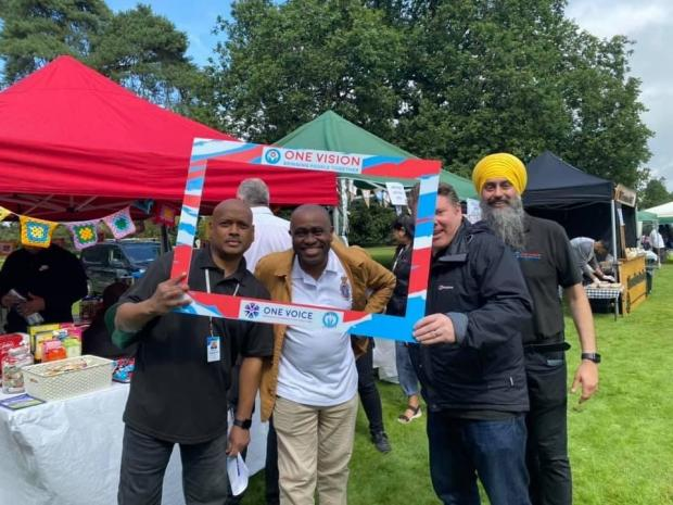 Watford Observer: High Sheriff of Hertfordshire Lionel Wallace with One Vision founder and CEO Enoch Kanagaraj and MP Dean Russell