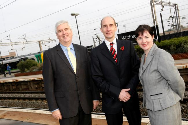 Former Secretary of State for Transport Lord Adonis (middle) announced the scheme in October last year with former Watford MP Claire Ward and county council leader Robert Gordon