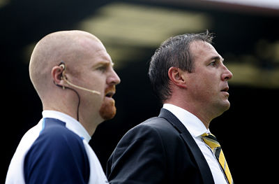 Malky Mackay and Sean Dyche watch on during Saturday's 2-2 draw with Coventry City. Picture: Holly Cant