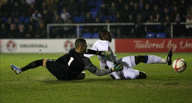 Marvin Sordell scores for England Under-20s. Picture: Action Images