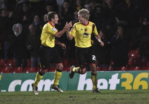 Watford Observer: Adam Thompson celebrates his only goal for Watford in 2011. Picture: Action Images