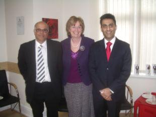 From left to right: Shalin Mehra, (Managing Director of Rodericks Limited), Watford's Mayor, Dorothy Thornhill,  and Dr Neil Kotecha (Joint partner and principal dentist for the Cassio rd dental practice).