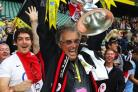 Nigel Wray celebrates with the Premiership trophy: Action Images
