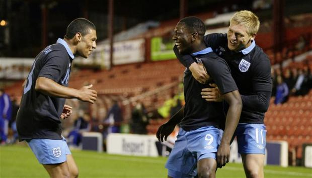 Marvin Sordell celebrates after first England Under-21 goal. Picture: Action Images