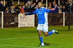 Britt Assombalonga celebrates scoring for Wealdstone earlier this season. Picture: Steve Foster