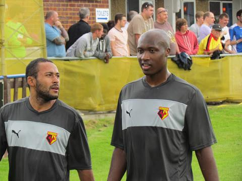 Ikechi Anya (left) and Steve Leo Beleck before Saturday's game with Wealdstone. Picture: Alan Palmer