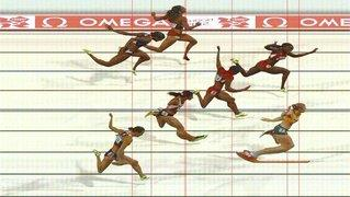 Sally Pearson of Australia wins the Women's 100m Hurdles Final on Day 11 of the London 2012 Olympic Games at Olympic Stadium (handout photo finish image supplied by Omega)