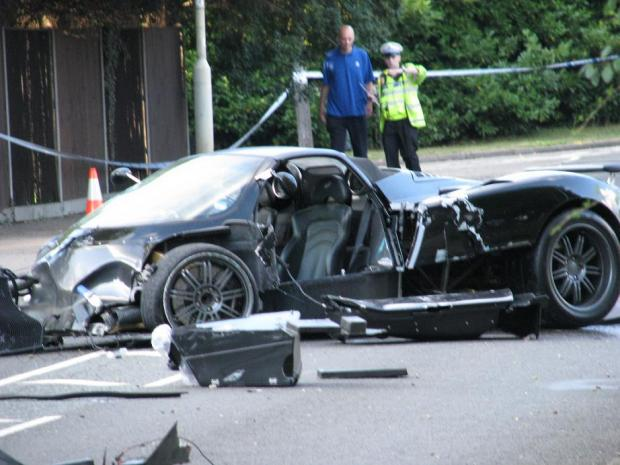 Police and paramedics were called to the roundabout by the Watford Hilton, following reports of an accident involving a Pagani Zonda Italian hypercar.