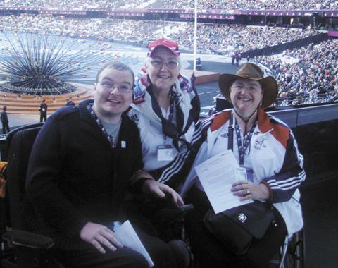 Patrick representing the WDSA at The Olympic Stadium with Ruth Boyne and Sue Cummings