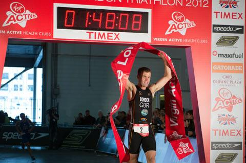 First across the line: Adam Bowden won the Virgin Active London Triathlon