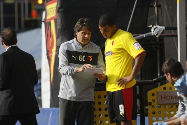 Troy Deeney receives instructions before returning to action with the Hornets. Picture: Holly Cant