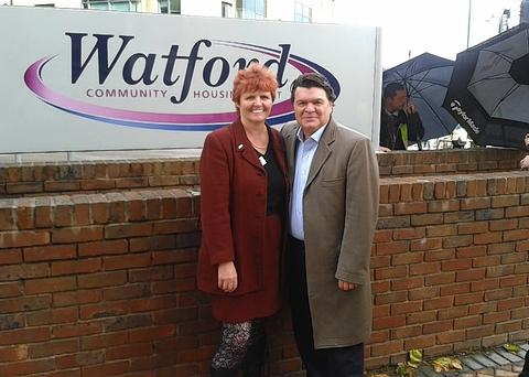 Jamie Foreman, who plays Derek Branning with trust chief executive Tina Barnard.