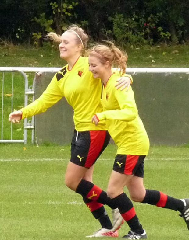Scorers celebrate: Josie Green, left, with Sarah Wiltshire.