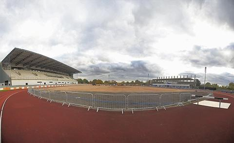 There is still work to be done at the athletics stadium in Champions Way and the most striking aspect of the new ground is yet to be installed