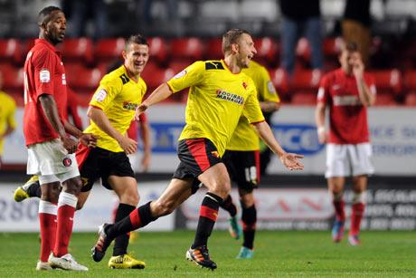 Almen Abdi celebrates his match winner at Charlton Athletic. Picture: Action Images