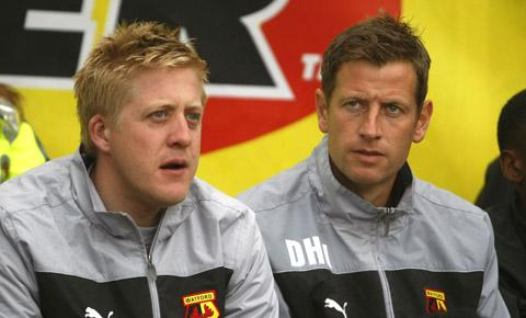 Nick Cox (left) alongside current youth team coach David Hughes