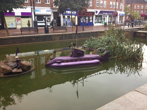The purple submarine in the pond