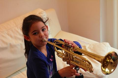 Watford Observer: Film star Leah plays her trumpet - thanks to Demand.