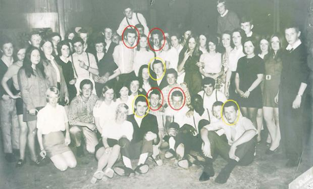 Watford (in red) and Harrow (yellow) skinheads at Butlins, Clacton, in 1968.