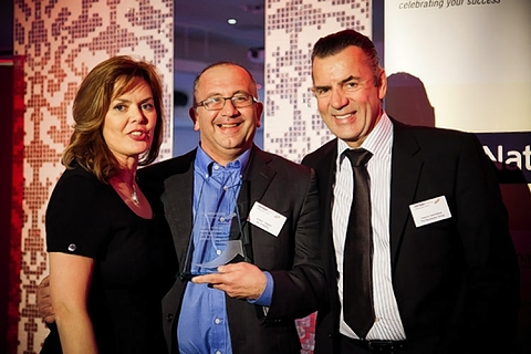 Winner Joseph Sopher (centre) with Adrienne Lawler and Duncan Bannatyne