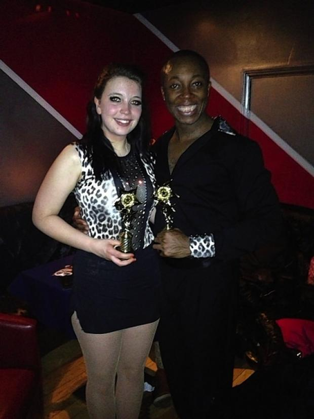 Grace Silliton and dance partner, Gus Mensah, with their award