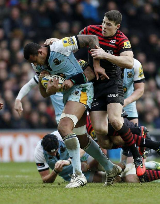Joel Tomkins battles with Saints' Courtney Lawes
