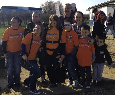 Linda Harman and her family at the 2012 Make Today Count Skydive