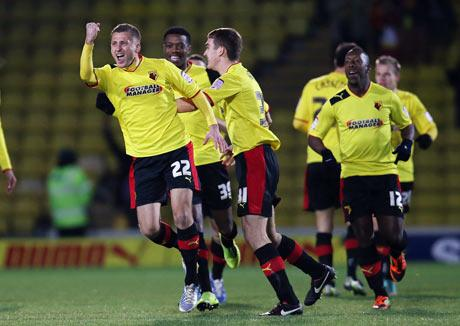 Almen Abdi celebrates giving Watford the lead. Picture: Action Images