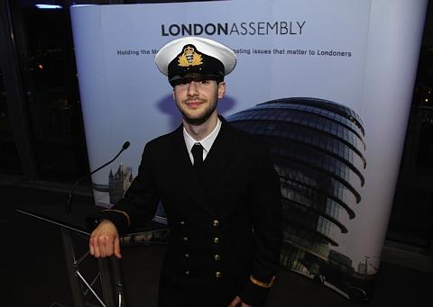 Sub Lieutenant Dominic Simonis, from HMS Wildfire at the Olympic reception.