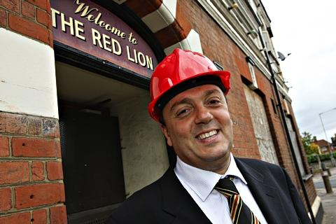 Watford Observer: Former Hornets owner Laurence Bassini outside the Yellow and Red Lion