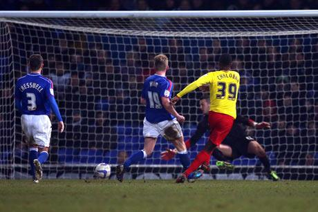 Game won: Nathaniel Chalobah side-foots home Watford's second goal last night. Picture: Action Images