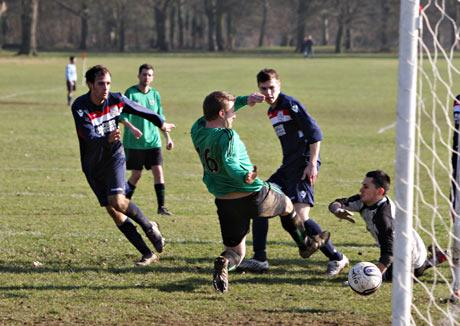 One of the goals in Bovingdon's 4-2 victory over Cassiobury Revolution. Picture: Pippa Douglas