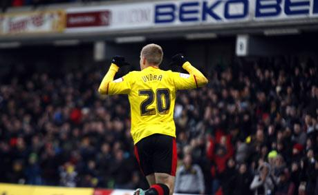 Twenty for number 20: Matej Vydra celebrates scoring on Saturday. Picture: Holly Cant
