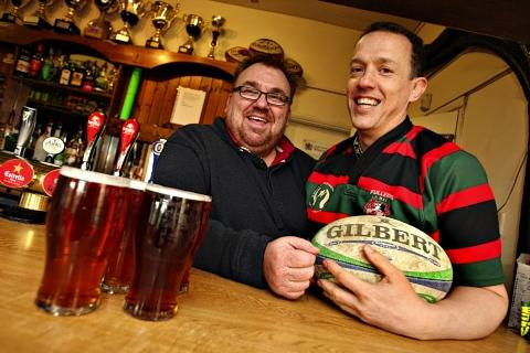 Bar steward Gary Wall (left) and Fullerians Rugby Club Chairman Kevin Brind get set to welcome drinkers to their first real ale and cider festival.