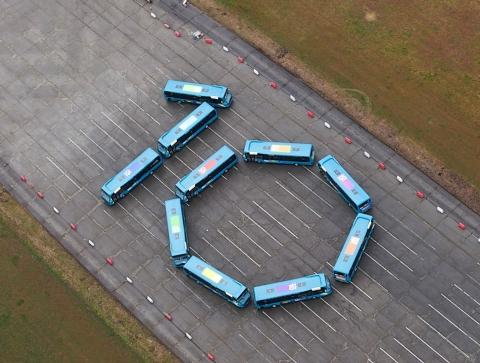 The Perfect 10: an aerial shot of the ten new buses destined for service 10 in Watford. Picture: Arriva