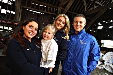 (Left to right) Eve Howard, Lolly, 4, Sophie Hall and Daniel Mitchell.
