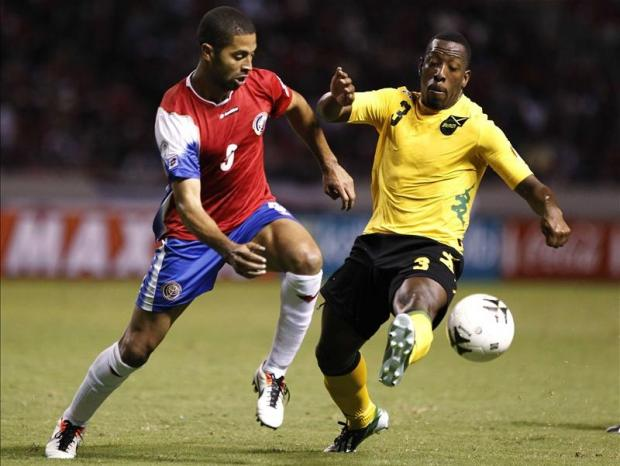 Lloyd Doyley playing for Jamaica against Costa Rica last year. Picture: Action Images