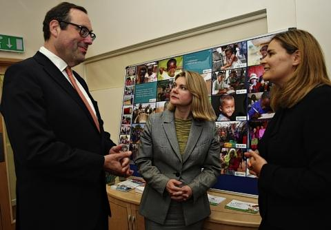 Watford's MP Richard Harrington with Justine Greening and Helia Mateus, chief financial officer at ADRA.