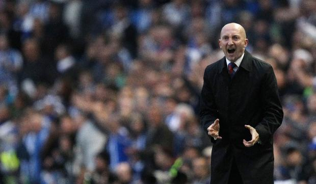 Ian Holloway responded to Watford fans' chants with a two-fingered gesture. Picture: Action Images