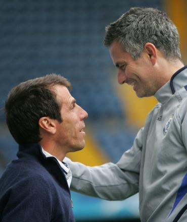 Gianfranco Zola with Chelsea boss Jose Mourinho back in 2006. Picture: Action Images