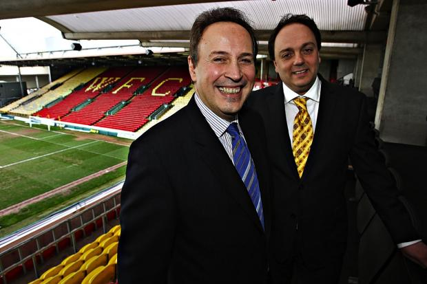 Laurence Bassini (right) with orthopaedic surgeon Panos Thomas who was initially part of his Watford FC takeover.