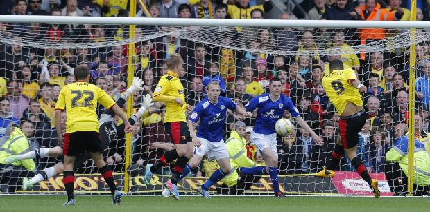 Troy Deeney scoring in last season's memorable Play-Off semi-final second leg. Picture: Action Images