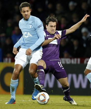Mathias Ranegie (left) playing for Malmo in 2011. Pictures: Action Images