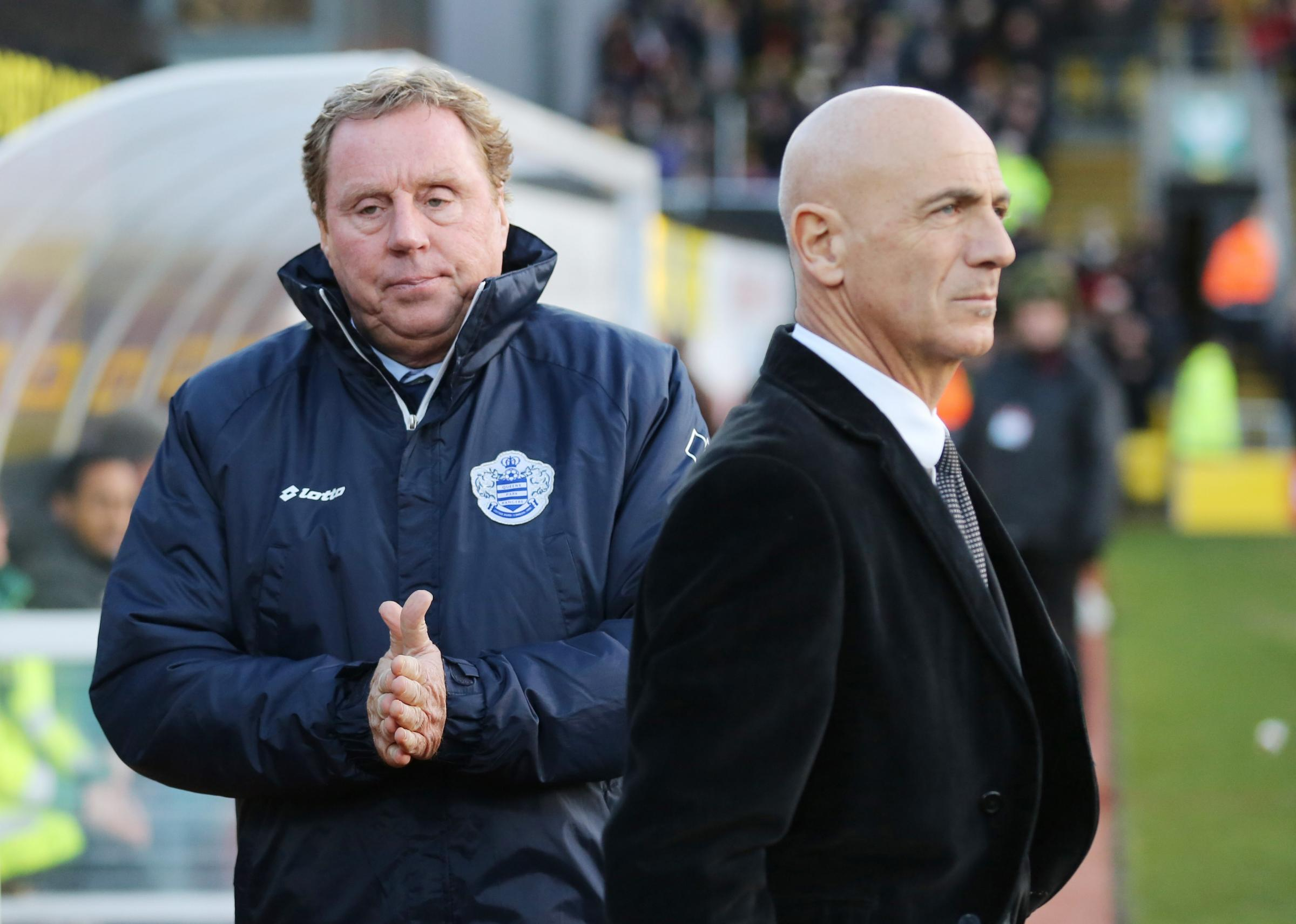 Beppe Sannino with QPR boss Harry Redknapp when the teams met earlier this season. Picture: Action Images.