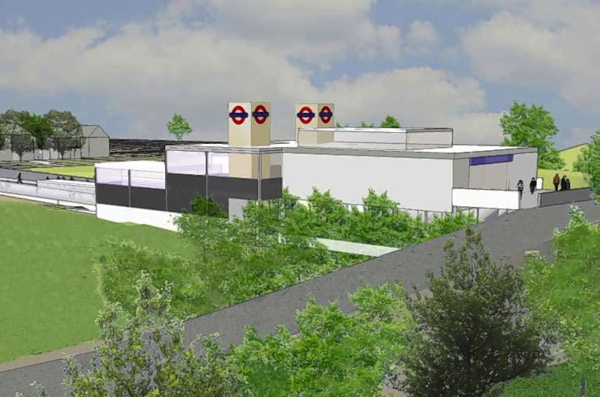 Digital image of the new Croxley Rail Link station in Vicarage Road
